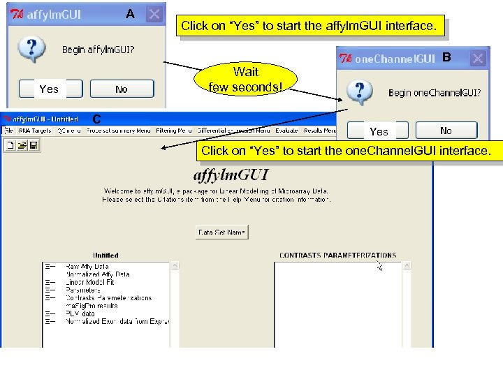 "A Click on ""Yes"" to start the affylm. GUI interface. B Wait few seconds!"