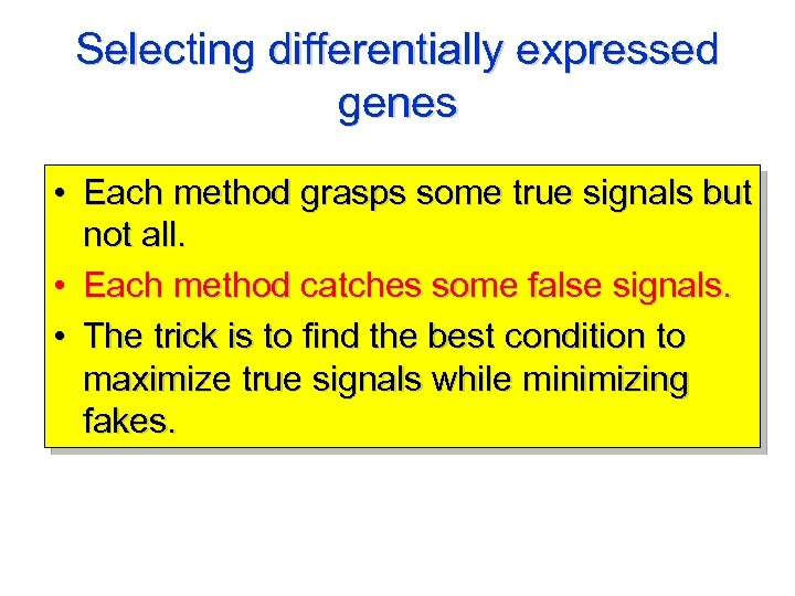 Selecting differentially expressed genes • Each method grasps some true signals but not all.