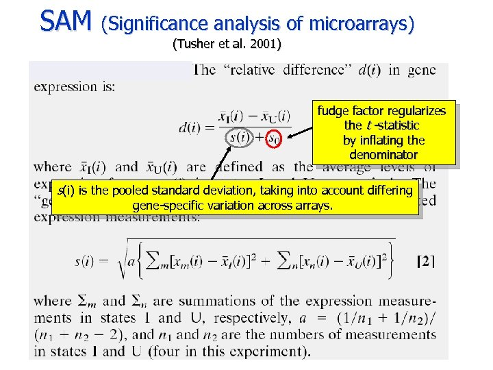 SAM (Significance analysis of microarrays) (Tusher et al. 2001) fudge factor regularizes the t