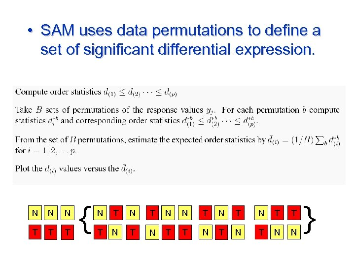 • SAM uses data permutations to define a set of significant differential expression.