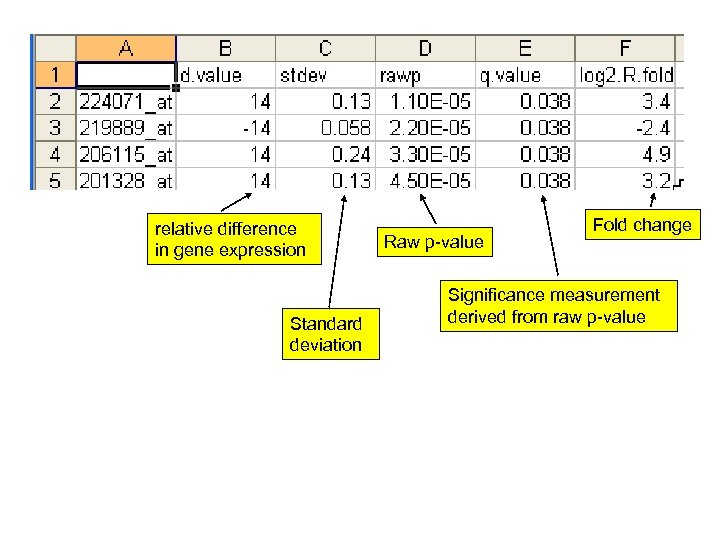 relative difference in gene expression Standard deviation Raw p-value Fold change Significance measurement derived