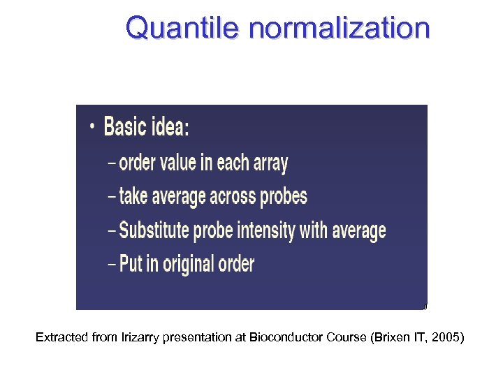 Quantile normalization Extracted from Irizarry presentation at Bioconductor Course (Brixen IT, 2005)