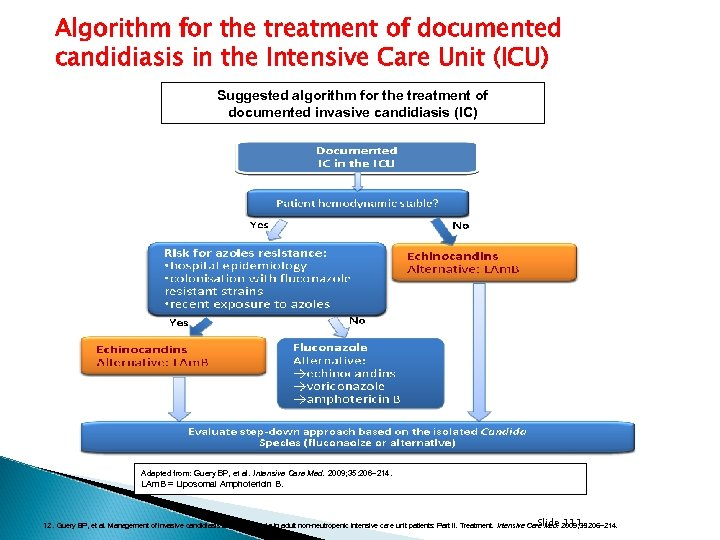 Algorithm for the treatment of documented candidiasis in the Intensive Care Unit (ICU) Suggested