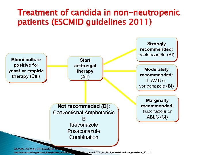Treatment of candida in non-neutropenic patients (ESCMID guidelines 2011) Strongly recommended: recommended echinocandin (AI)