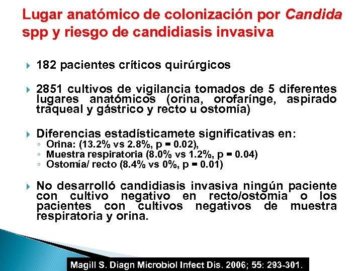 Lugar anatómico de colonización por Candida spp y riesgo de candidiasis invasiva 182 pacientes