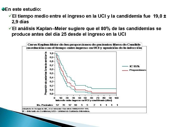 En este estudio: üEl tiempo medio entre el ingreso en la UCI y la