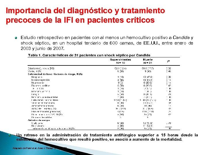 Importancia del diagnóstico y tratamiento precoces de la IFI en pacientes críticos Estudio retrospectivo