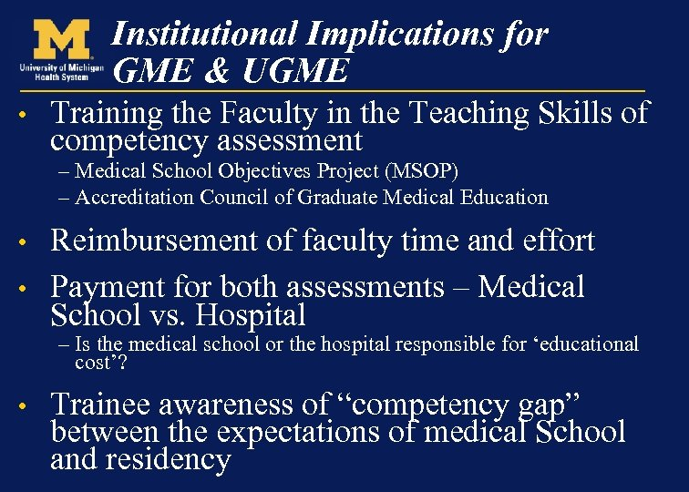 Institutional Implications for GME & UGME • Training the Faculty in the Teaching Skills