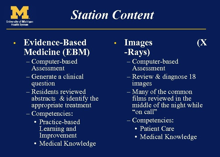 Station Content • Evidence-Based Medicine (EBM) – Computer-based Assessment – Generate a clinical question