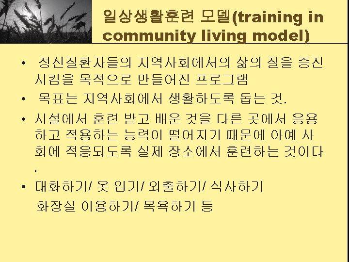 일상생활훈련 모델(training in community living model) • 정신질환자들의 지역사회에서의 삶의 질을 증진 시킴을 목적으로