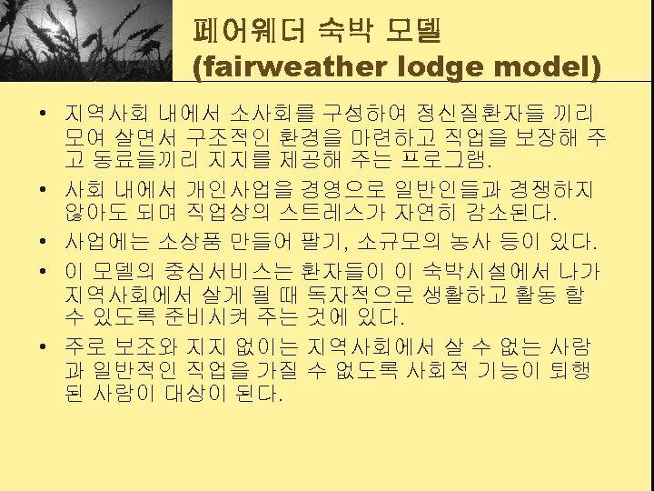 페어웨더 숙박 모델 (fairweather lodge model) • 지역사회 내에서 소사회를 구성하여 정신질환자들 끼리 모여