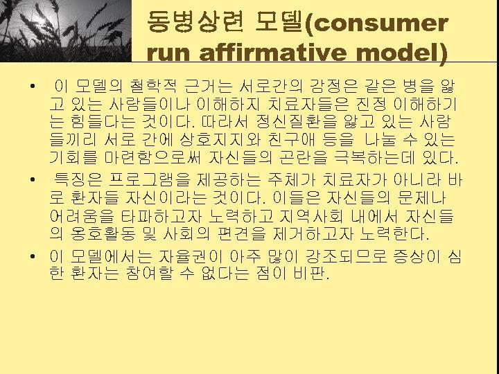 동병상련 모델(consumer run affirmative model) • 이 모델의 철학적 근거는 서로간의 감정은 같은 병을