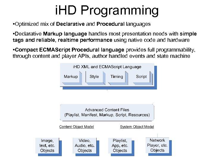 i. HD Programming • Optimized mix of Declarative and Procedural languages • Declarative Markup