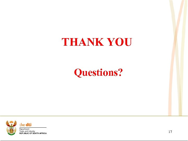 THANK YOU Questions? 17