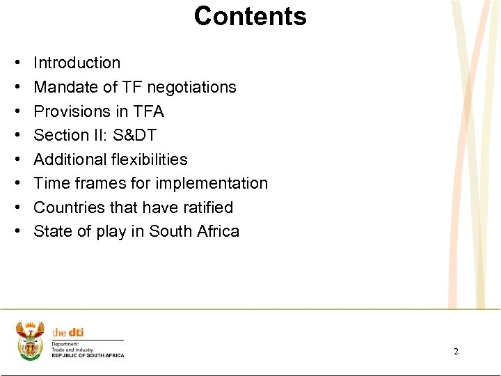 Contents • • Introduction Mandate of TF negotiations Provisions in TFA Section II: S&DT