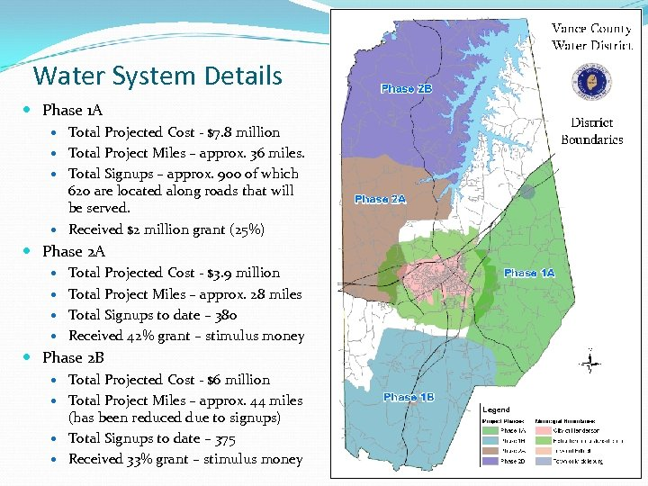 Water System Details Phase 1 A Total Projected Cost - $7. 8 million Total