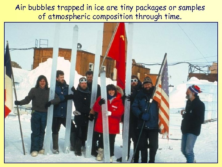 Air bubbles trapped in ice are tiny packages or samples of atmospheric composition through