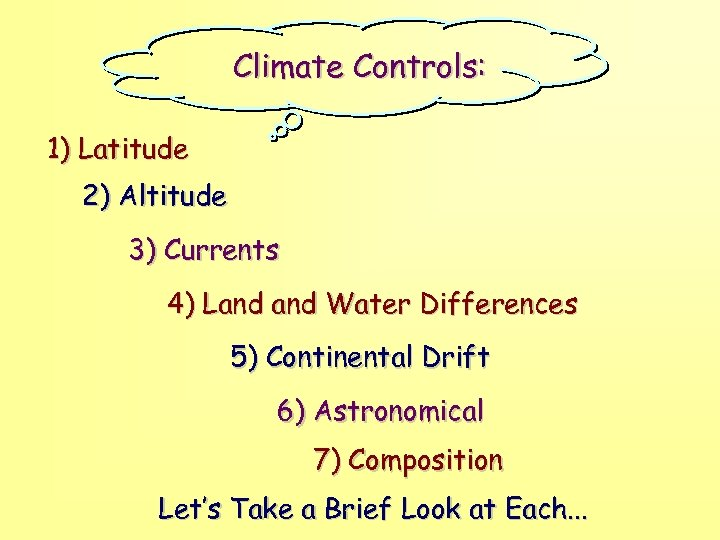 Climate Controls: 1) Latitude 2) Altitude 3) Currents 4) Land Water Differences 5) Continental