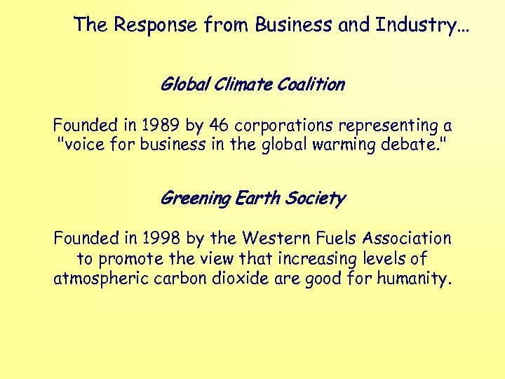 The Response from Business and Industry… Global Climate Coalition Founded in 1989 by 46