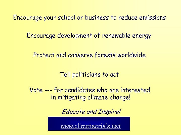 Encourage your school or business to reduce emissions Encourage development of renewable energy Protect