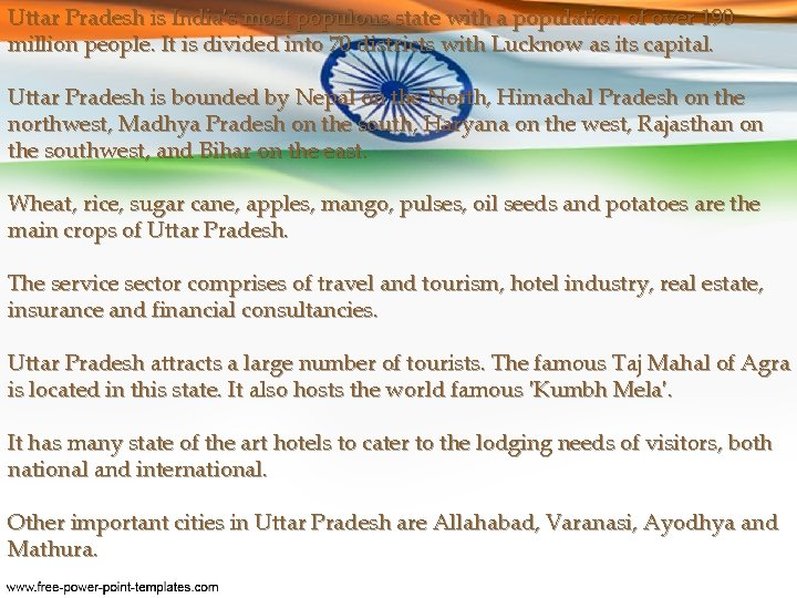 Uttar Pradesh is India's most populous state with a population of over 190 million