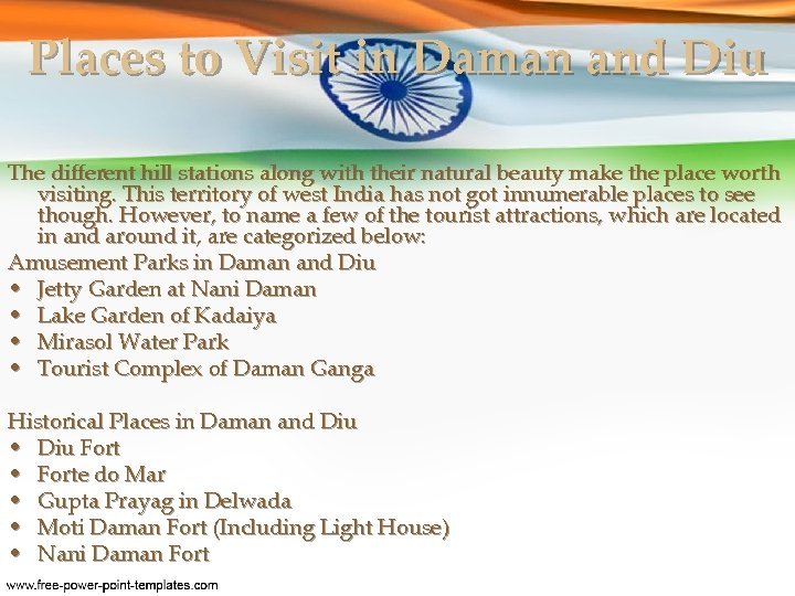 Places to Visit in Daman and Diu The different hill stations along with their