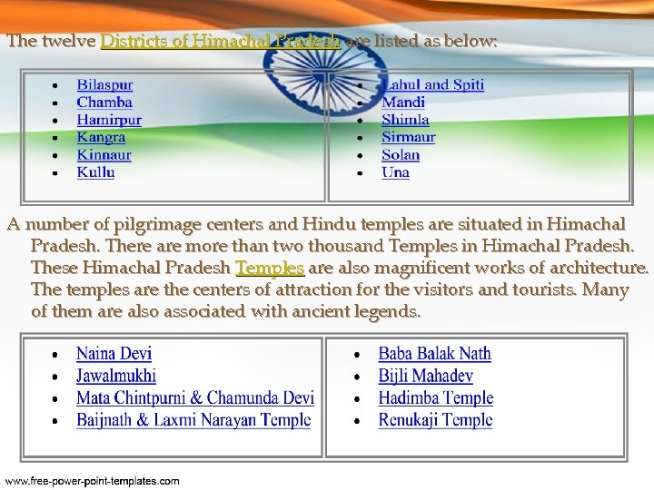 The twelve Districts of Himachal Pradesh are listed as below: A number of pilgrimage