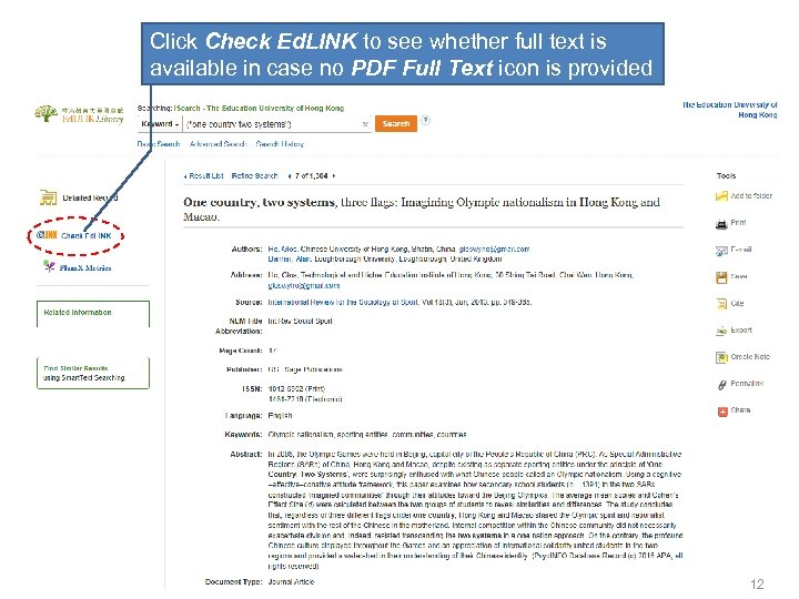 Click Check Ed. LINK to see whether full text is available in case no