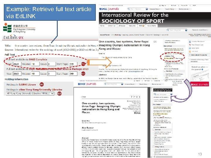 Example: Retrieve full text article via Ed. LINK 13