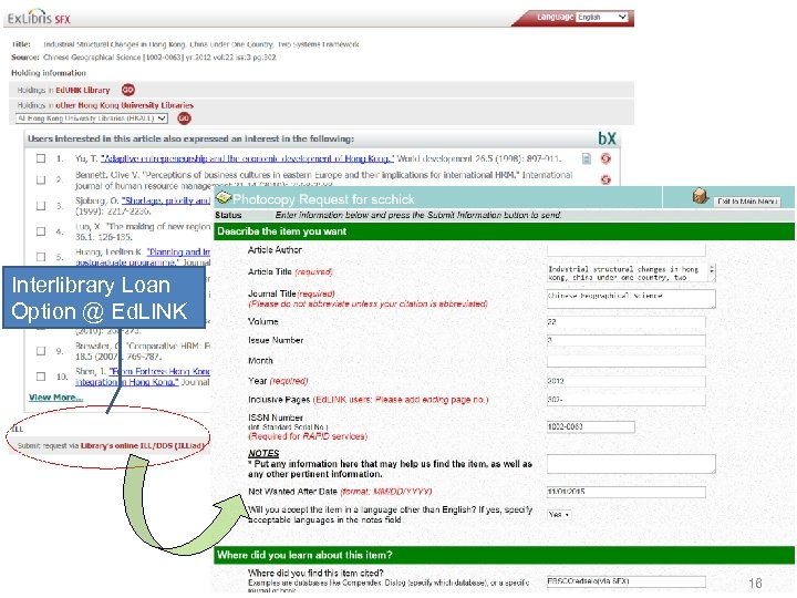Interlibrary Loan Option @ Ed. LINK 16