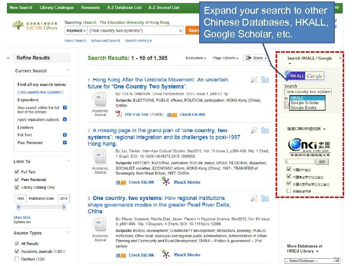 Expand your search to other Chinese Databases, HKALL, Google Scholar, etc. 24