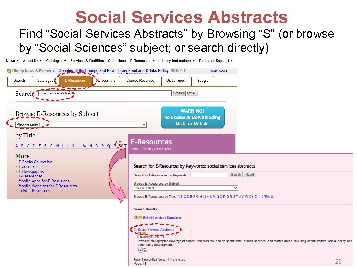 """Social Services Abstracts Find """"Social Services Abstracts"""" by Browsing """"S"""