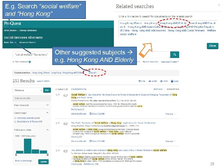 """E. g. Search """"social welfare"""" and """"Hong Kong"""" Other suggested subjects e. g. Hong"""
