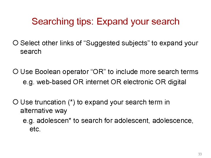 """Searching tips: Expand your search ¡ Select other links of """"Suggested subjects"""" to expand"""