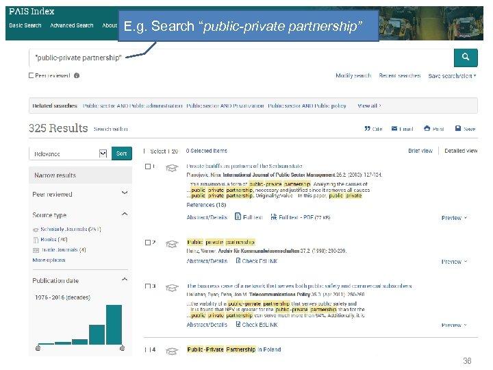 """E. g. Search """"public-private partnership"""" 36"""