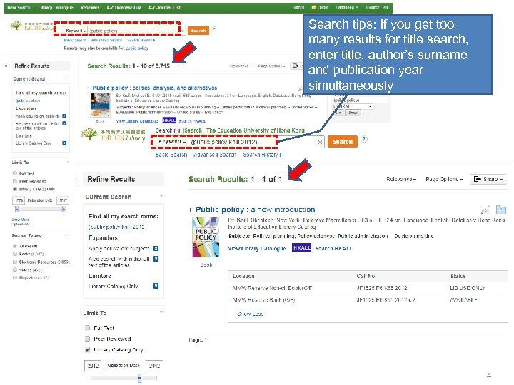 Search tips: If you get too many results for title search, enter title, author's