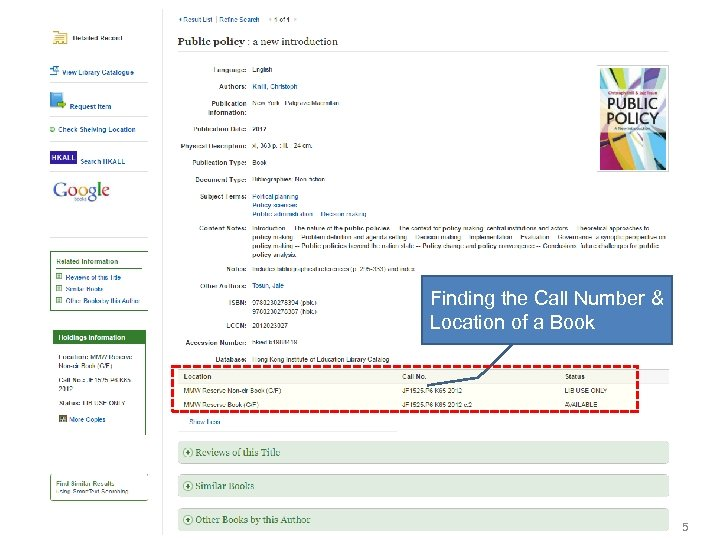 Finding the Call Number & Location of a Book 5