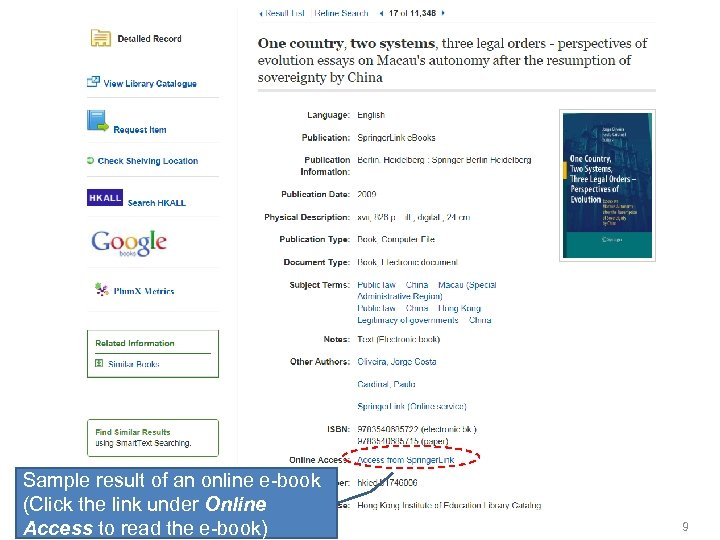 Sample result of an online e-book (Click the link under Online Access to read