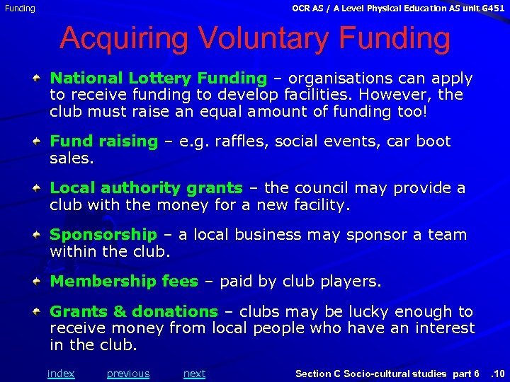 Funding OCR AS / A Level Physical Education AS unit G 451 Acquiring Voluntary