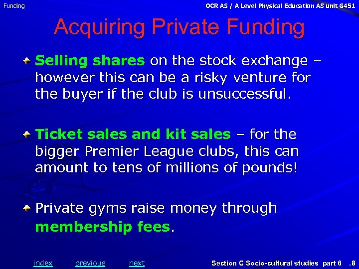 Funding OCR AS / A Level Physical Education AS unit G 451 Acquiring Private