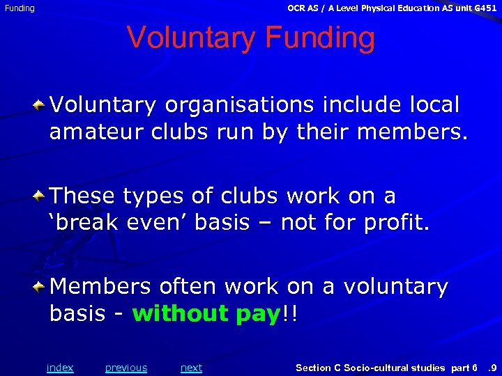 Funding OCR AS / A Level Physical Education AS unit G 451 Voluntary Funding