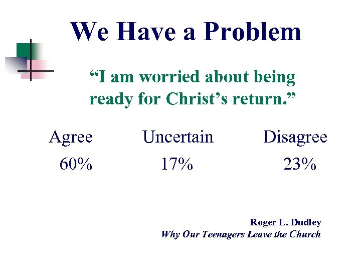 """We Have a Problem """"I am worried about being ready for Christ's return. """""""