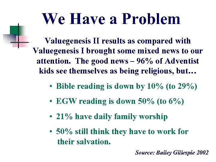 We Have a Problem Valuegenesis II results as compared with Valuegenesis I brought some