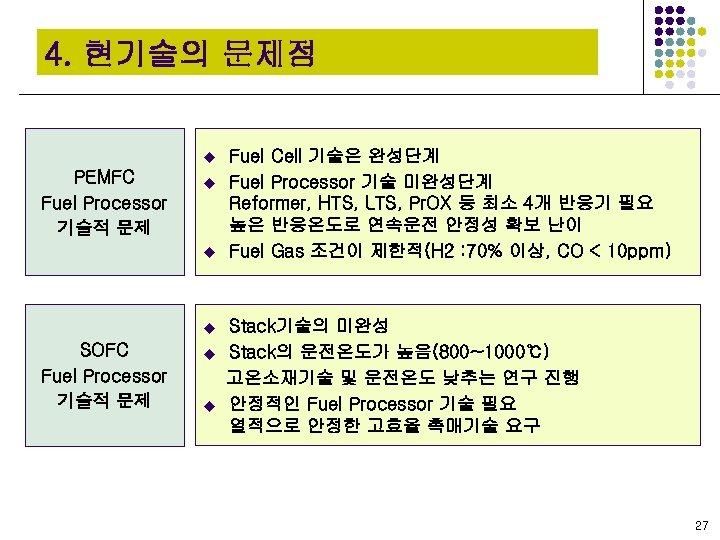 4. 현기술의 문제점 u PEMFC Fuel Processor 기술적 문제 u u u SOFC Fuel