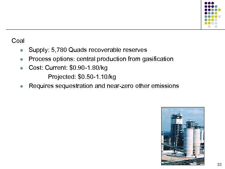 Production Feedstock/Process Options Coal l l Supply: 5, 780 Quads recoverable reserves Process options: