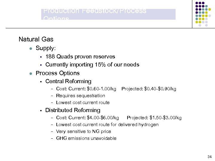 Production Feedstock/Process Options Natural Gas l Supply: § § l 188 Quads proven reserves