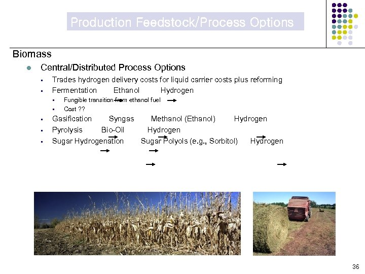 Production Feedstock/Process Options Biomass l Central/Distributed Process Options § § Trades hydrogen delivery costs