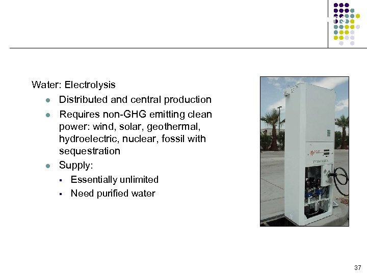 Production Feedstock/Process Options Water: Electrolysis l Distributed and central production l Requires non-GHG emitting