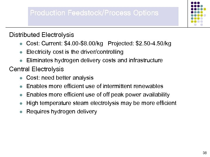 Production Feedstock/Process Options Distributed Electrolysis l l l Cost: Current: $4. 00 -$8. 00/kg