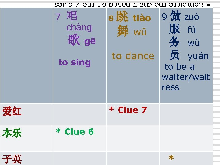 • Complete the chart based on the 7 clues 7 唱 chàng 歌